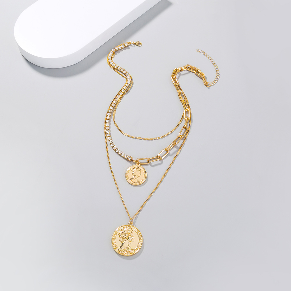 Retro Creative Rhinestone Stitching Chain Coin Round Necklace NHAN369266