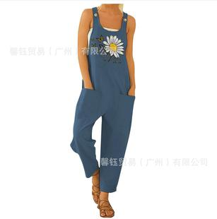Spot Amazon 2021 summer new European and American butterfly daisy print overalls button casual pants jumpsuit