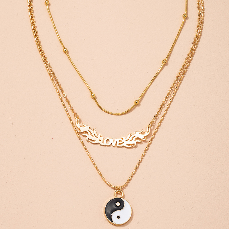 Tai Chi pendant simple retro multilayer necklace NHAI298416