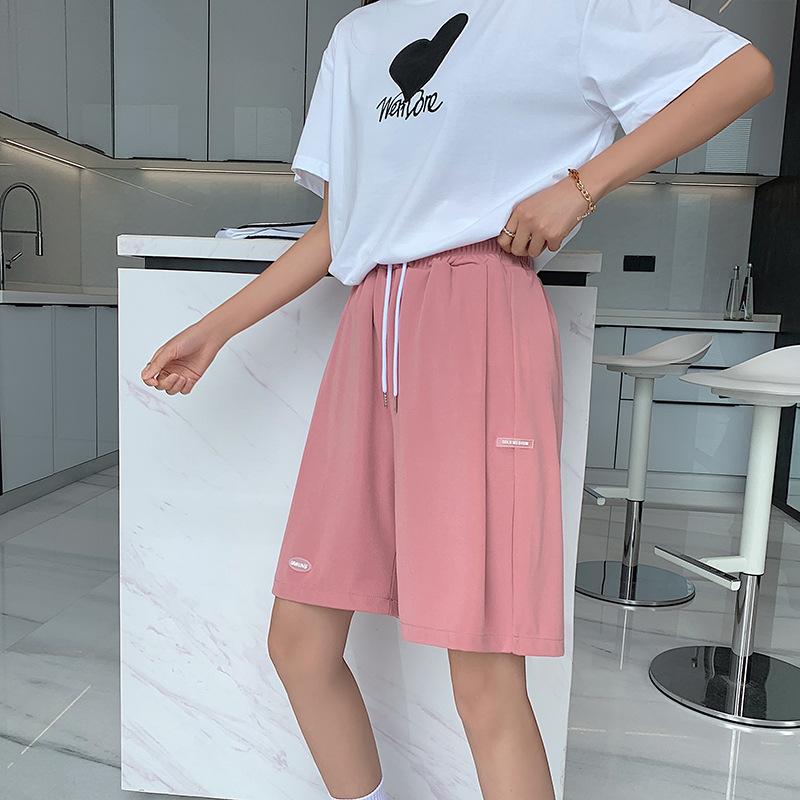 冰丝运动短裤女夏季宽松薄款2021新款高腰直筒显瘦休闲阔腿五分裤
