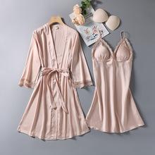 性感吊带镂空睡裙新款女睡袍两件套带胸垫睡衣春秋网红抖音家居服