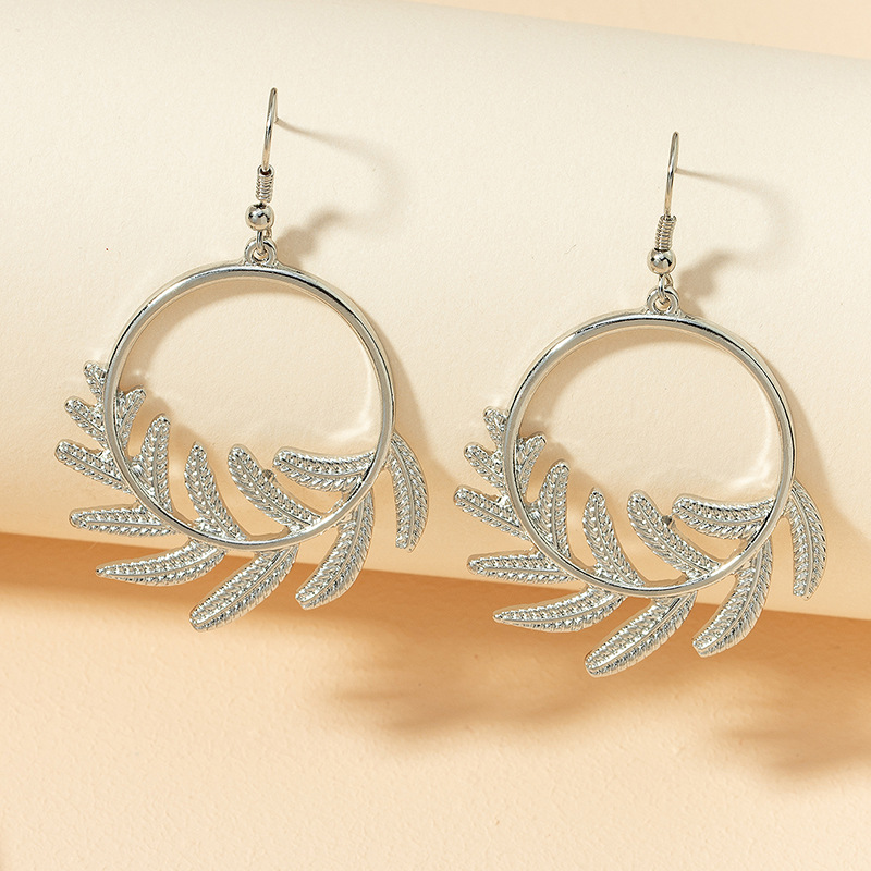 metal leaf retro earrings NHGU307076