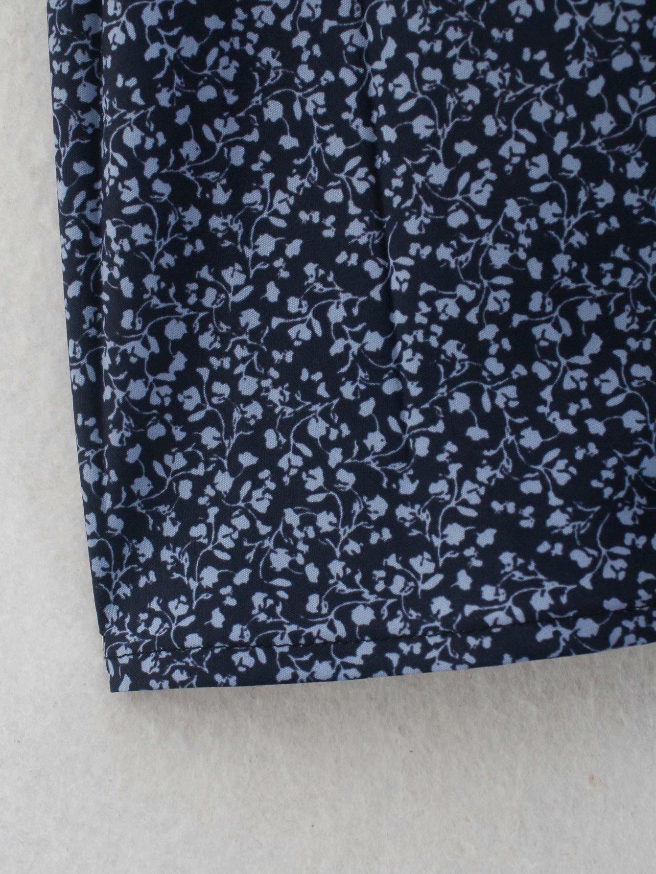 vestido camisero plisado con estampado de primavera NHAM314380