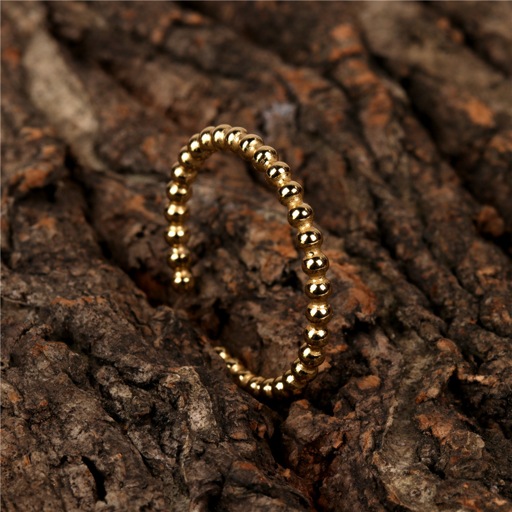 hip hop golden round bead open ring  NHPY336359