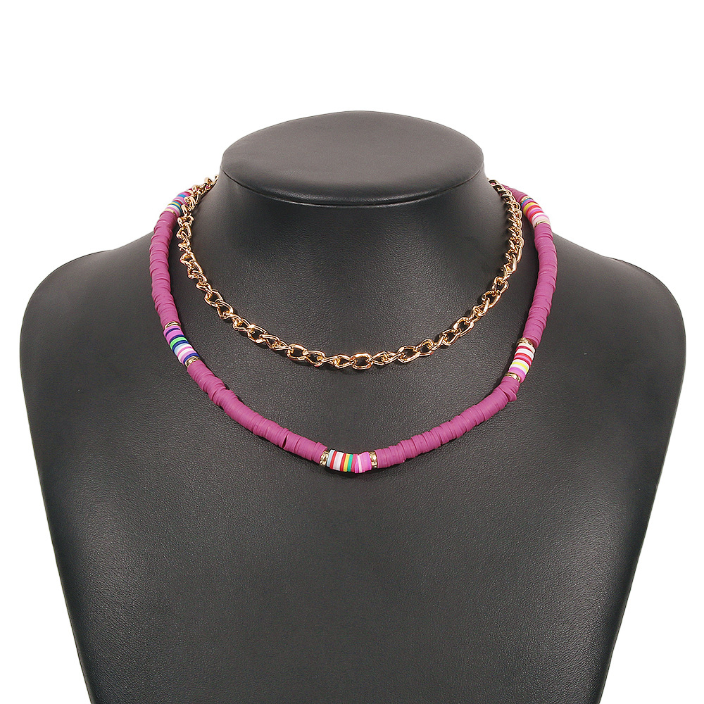 wholesale ethnic style retro color leather cushion doublelayer clavicle chain Nihaojewelry  NHMD400206