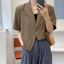 滔川设计师款 时髦洋气!不规则设计短袖西装外套衬衫女夏季 5177