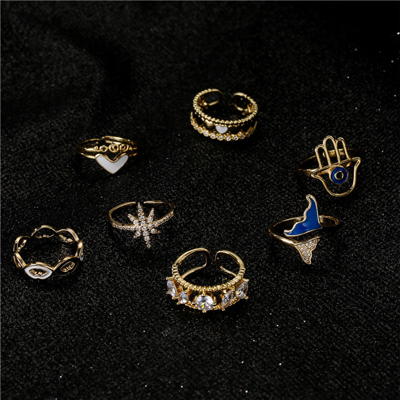 fashion copper microinlaid zircon pineapple opening adjustable ring  NHFMO342758