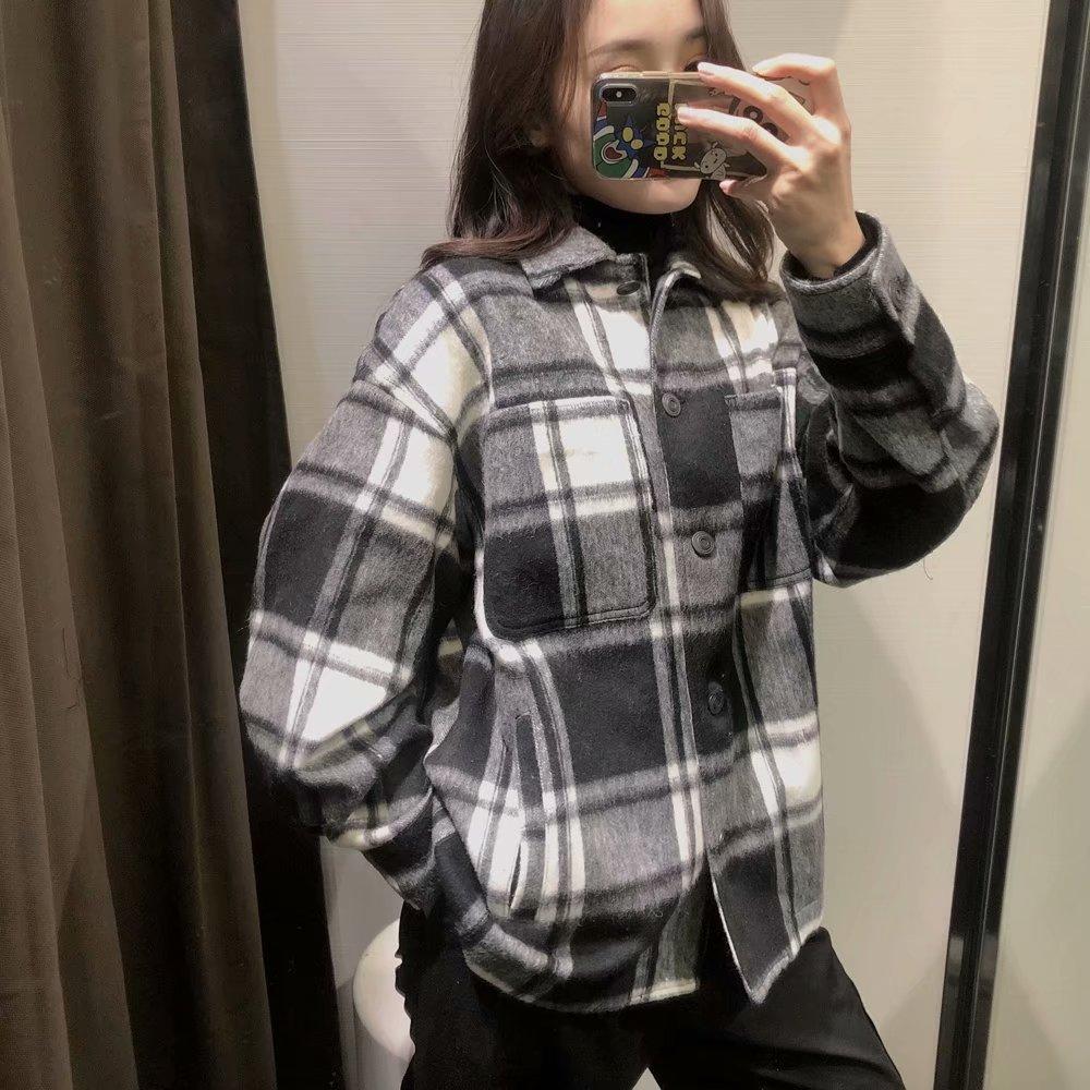 retro plaid woolen jacket NHAM304570