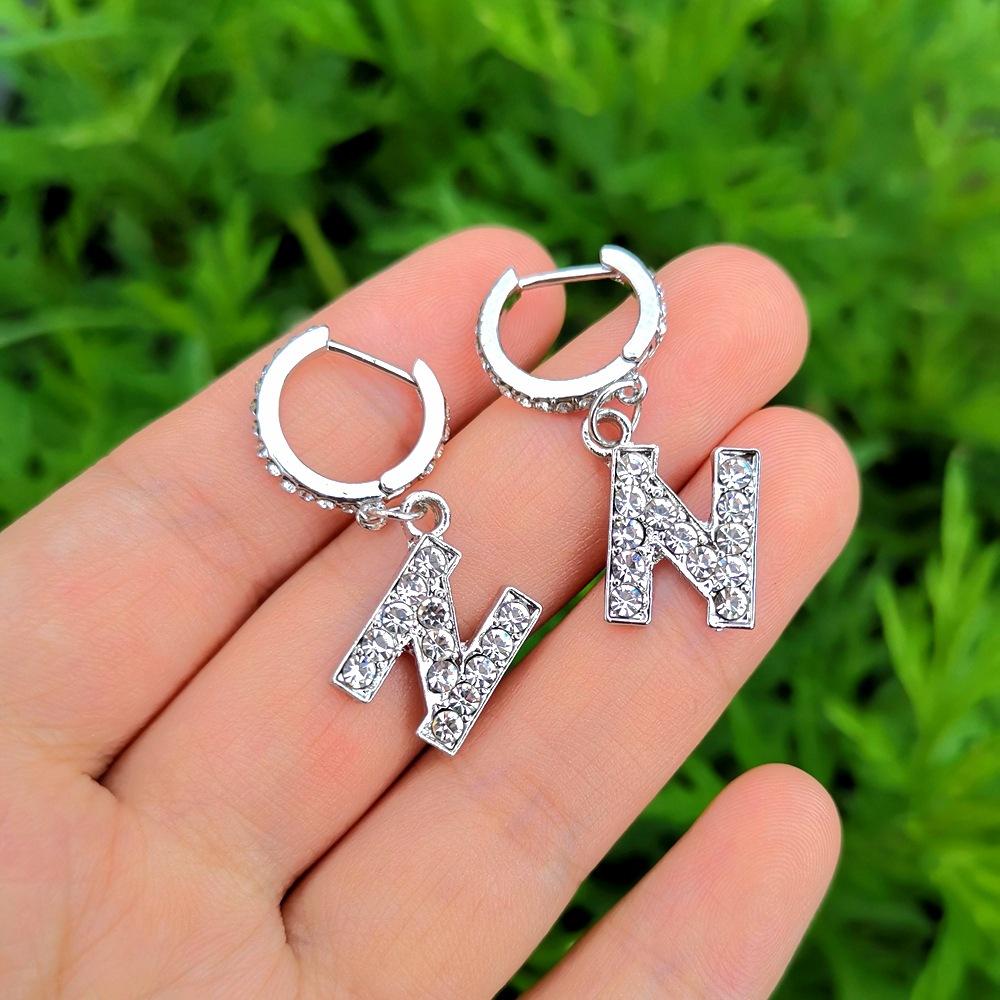 wholesale jewelry letter inlaid diamond pendant earrings nihaojewelry  NHYIA389747