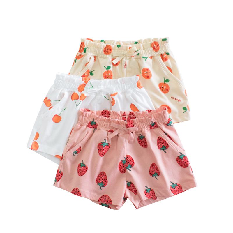 韩版童装2021夏季新款批发 时尚女童水果五分裤儿童短裤一件代发