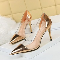 7818-6 in Europe and the wind for women's shoes high-heeled shoes lighter pointed metal transparent hollow out splicing sexy club women's shoes
