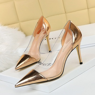 7818-6 in Europe and the wind for women's shoes high-heeled shoes lighter pointed metal transparent hollow out splicing