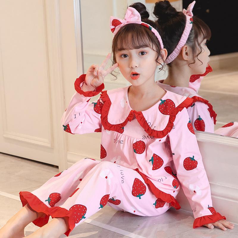 儿童睡衣长袖针织棉春秋季女童公主中大童套装小女孩宝宝家居服