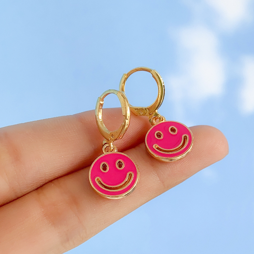 new creative hollow multicolor doublesided smiley earrings wholesale nihaojewelry NHYIA401091