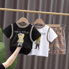 包邮代发Yikids童装小男孩短袖短裤套装潮童夏装男宝宝时尚童装棉