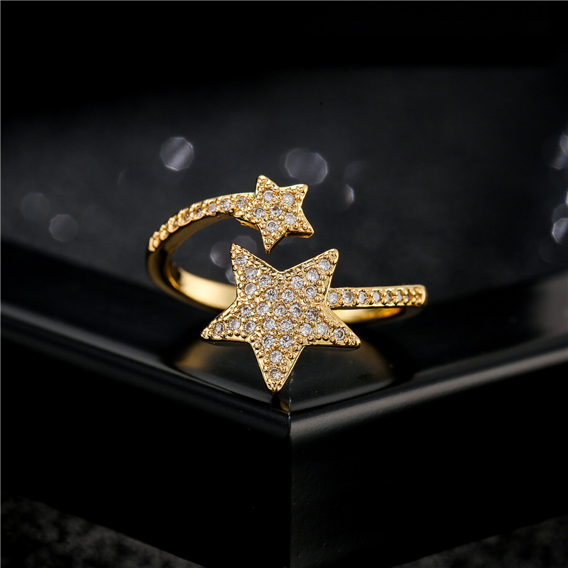 Simple double fivepointed star shape geometric ring NHFMO369103