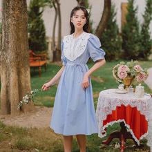 蕾絲拼接娃娃領連衣裙女2021夏季新款甜美減齡中長款泡泡袖仙女裙