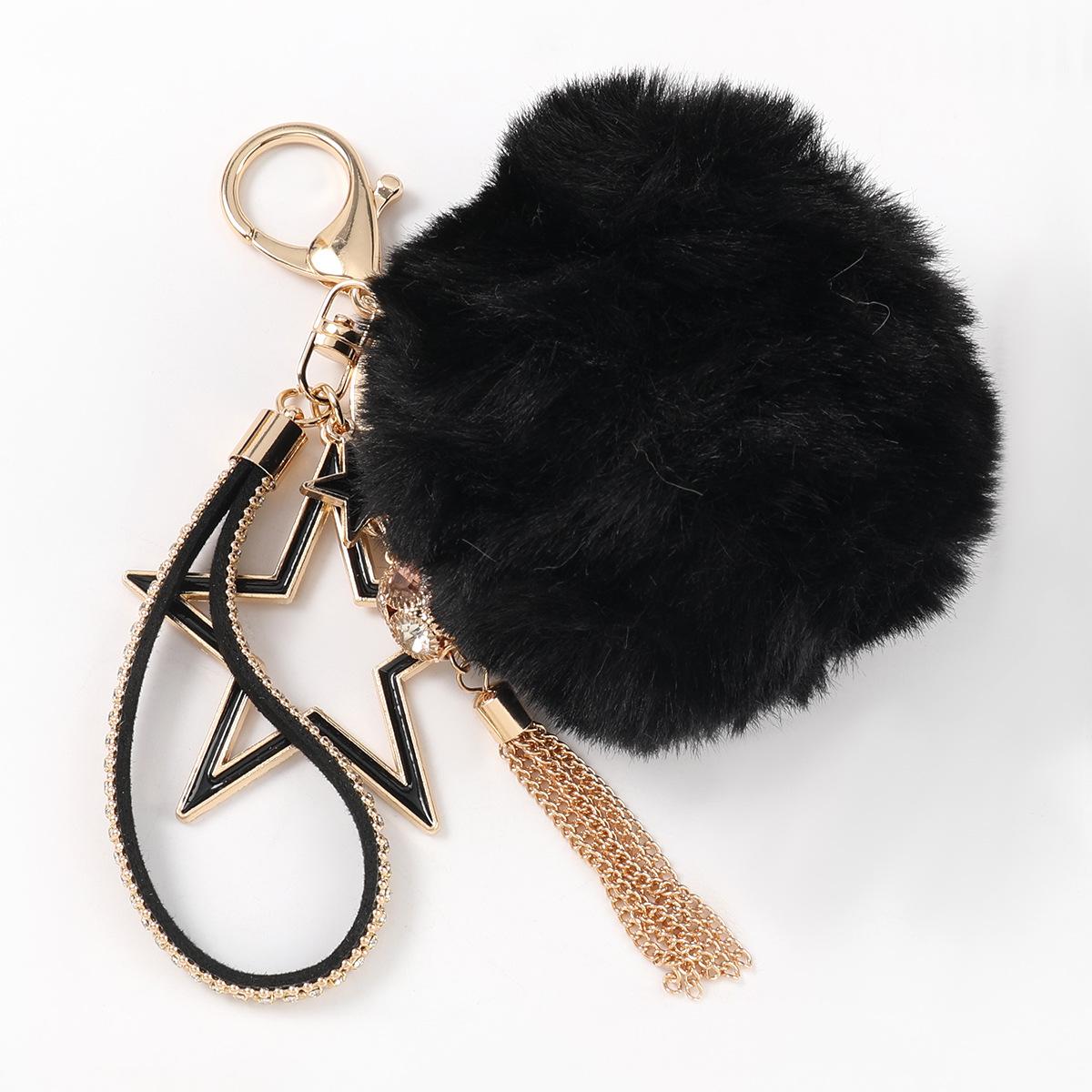 Fashion White Alloy Oil Drop Diamond Five-pointed Star Hair Ball Keychain