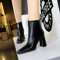 2662-5 European and American wind thick with high fashion and contracted boots and pull chain lag sexy nightclub show thin short boots