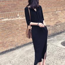 赫本长裙2021新款女装韩版时尚小个子春秋潮气质收腰显瘦连衣裙女