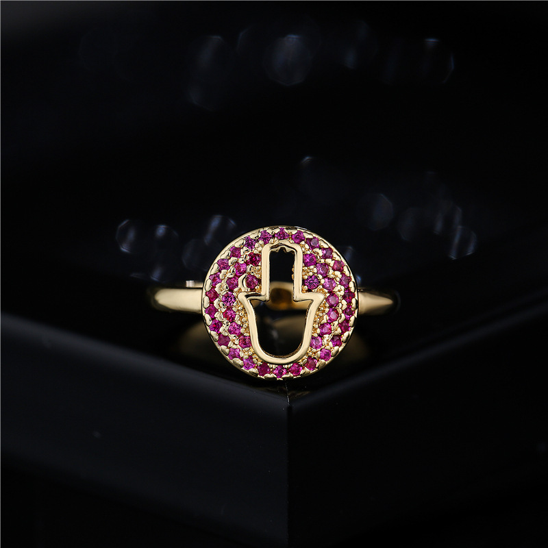 fashion hollow palm geometric copper inlaid zircon opening adjustable ring NHFMO368051