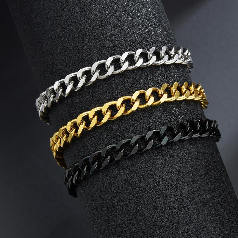simple grinding fashion cuban chain bracelet  NHHF303591