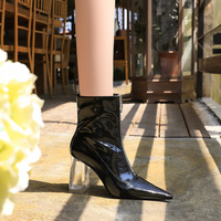 9568-1 the European and American wind fashion female boots with thick with high transparent crystal chain sexy short boots before with the glossy coat of paint