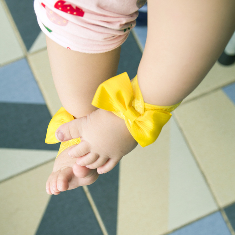 new style cute simple childrens foot bow set  NHWO344003