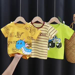 儿童短袖t恤纯棉女童夏装婴儿宝宝夏季童装2021男童上衣一件代发
