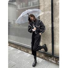 黑色白邊超短款羽絨棉服2020冬季新款小個子加厚立領夾克外套女潮