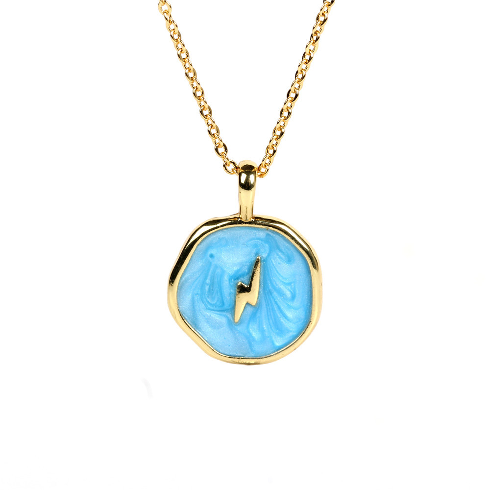 Fashion copper drop oil star and moon necklace wholesale NHPY336358