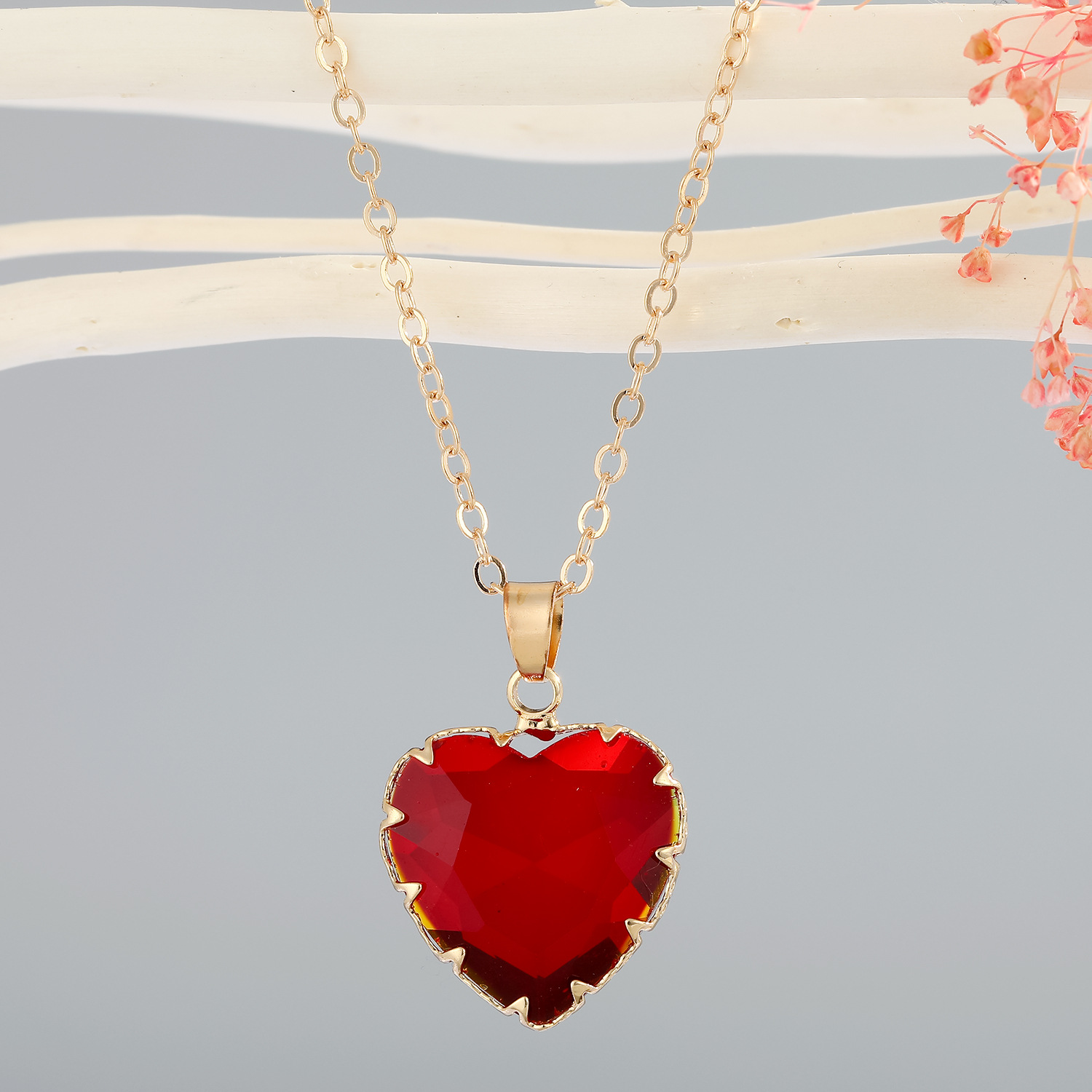 new simple love imitation crystal necklace NHGO310269