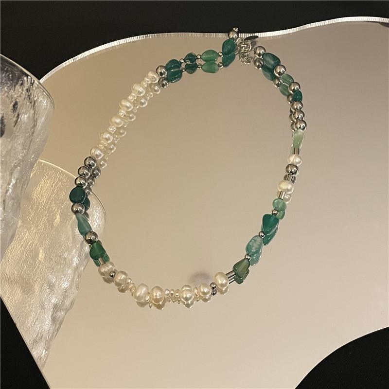 wholesale jewelry green tourmaline stone pearl necklace Nihaojewelry NHYQ383464