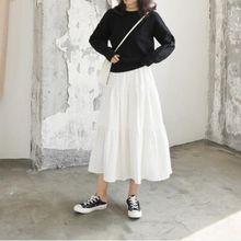 实拍2021春夏新款仙女韩版软妹可爱高腰荷叶边修身中长款半身裙