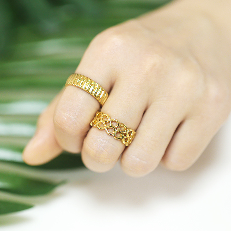 fashion doublelayer hollow 8character wireless ring  NHAS366229