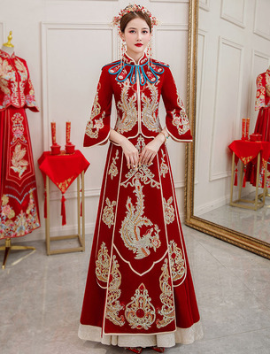 Xiuhe dress wedding party Chinese wedding bridal gown female velvet photos shooting Xiuhe chinese wedding dress with diamond stage performance dress