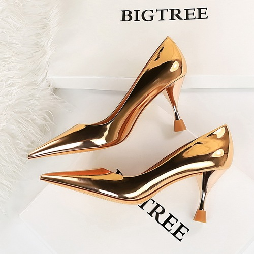 2663-1 in Europe and the wind is high with shallow pointed mouth glass with metal the glossy fashion sexy show thin sheet with patent leather shoes