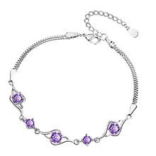 甜美柔美镶钻手链银手环满钻闺蜜心形手饰气质海蓝紫水晶锆石手链
