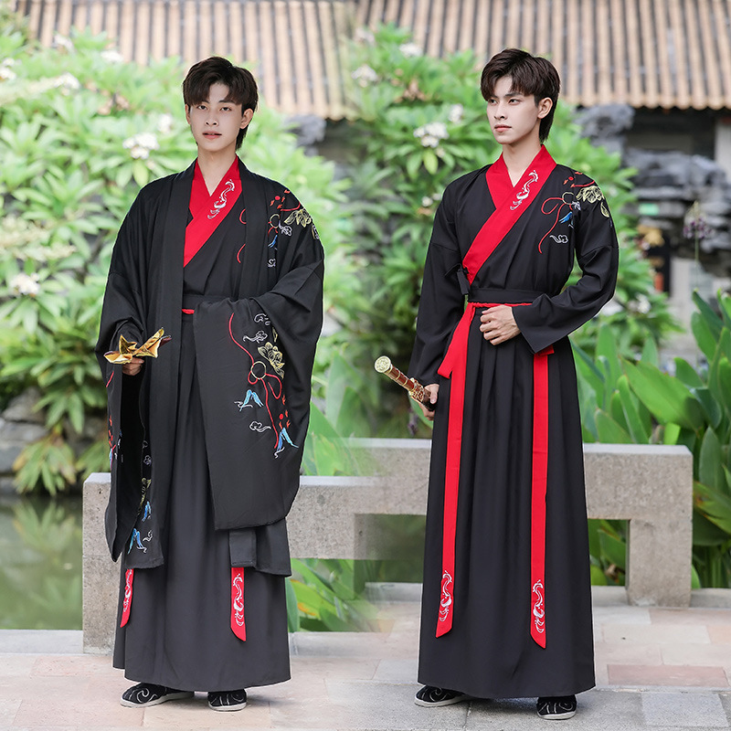 Chinese hanfu warrior swordsman robe for men Ming tang Dynasty chinese traditional costumes Wei Jin Xianqi Men Song Dynasty Ancient Clothes