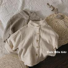 森系复古 儿童衬衣洋气立领女童棉麻衬衫韩版潮男童时尚上衣童装