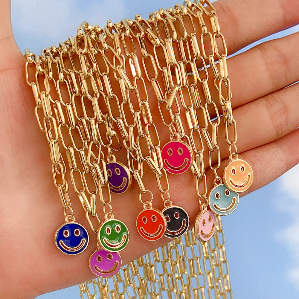 wholesale new dripping smiley face pendent alloy necklace Nihaojewelry  NHYIA401076