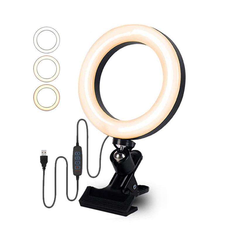 6寸大力夹环形直播灯 8寸电脑笔记本补光灯 桌面显示屏夹子美颜灯