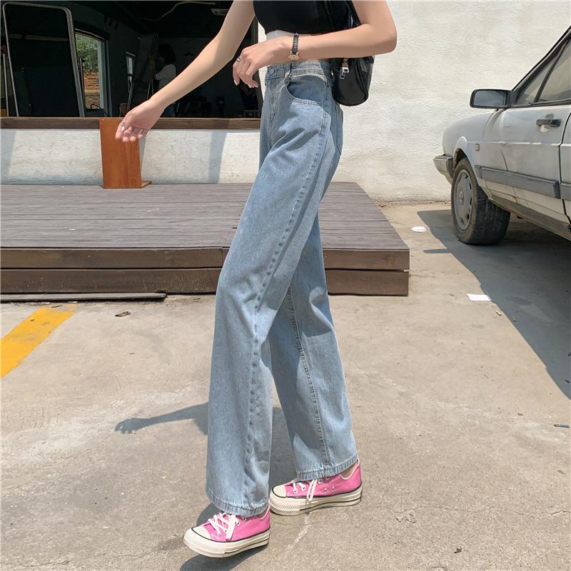 实拍 2021新款搭配短款上衣的裤子高腰阔腿宽松直筒牛仔长裤