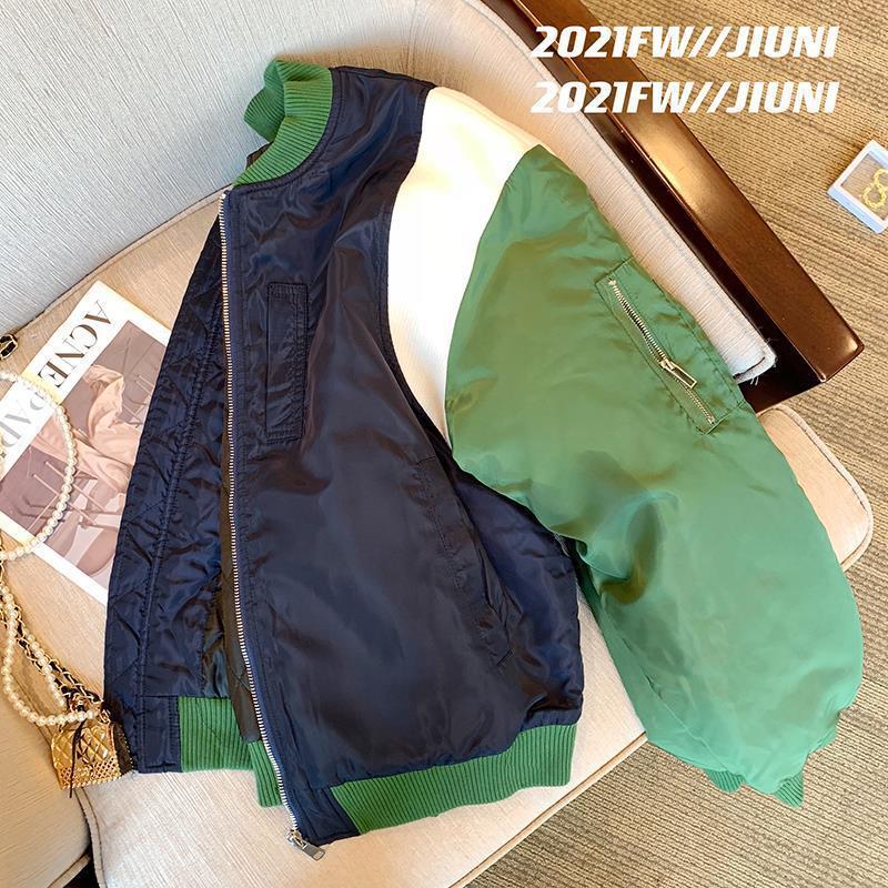 棒球服外套女2021秋冬季新款宽松拼接撞色夹棉加绒飞行员夹克棉服