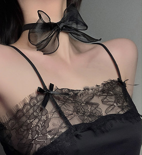 Black lace bow neck chain dark collar neckband girl ins European and American choker necklace clavicle chain