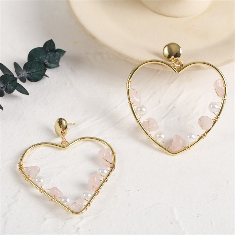 Bohemian heart natural stone pearl earrings  NHLA370447