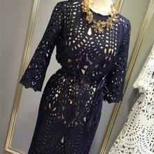 蕾絲兩件套鏤空2020春秋新款中長款連衣裙七分袖大碼顯瘦吊帶長裙