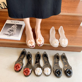 Summer jelly shoes female flowers student fish mouth flat non-slip plastic women's shoes Southeast Asian style transparent sandals cross-border