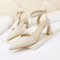 3668-5 han edition style light pointed mouth high-heeled shoes sexy one word with sandals, thick with empty after professional OL for women's shoes