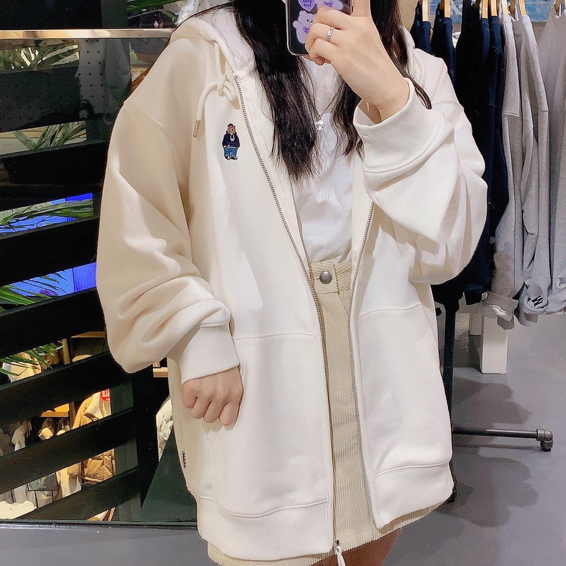 韩国潮牌小熊外套卫衣女连帽2021新款刺绣拉链宽松情侣开衫外套